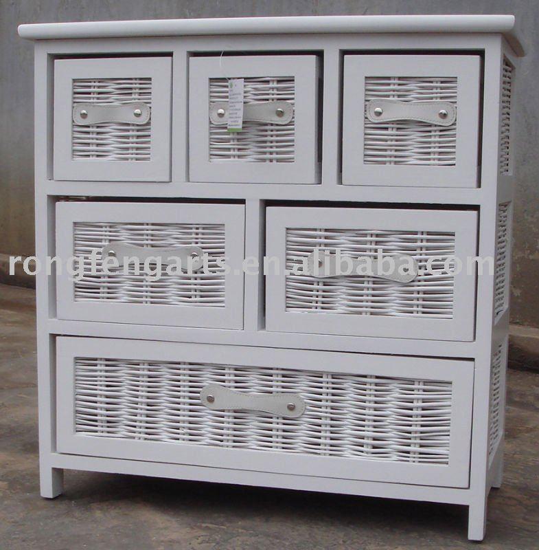 En bois cabient avec osier tiroirs meubles en bois for Meuble panier en osier