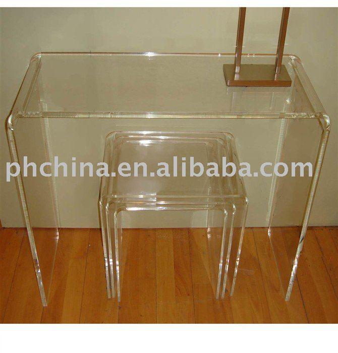Sf 57 clear acrylic bureau effacer plexiglas table console transparent en p - Console en plexiglas ...