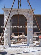white marble hand carved big exterior door frame