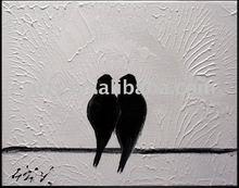 New design birds lover white and black art painting