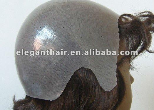 human hair full thin skin wig with natural looking