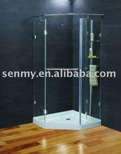 shower glass with bathroom shelf
