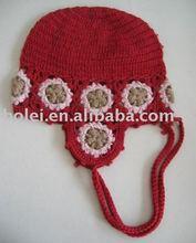 knitted children hat with flower design