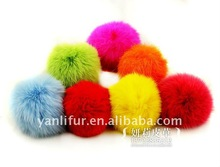 many color soft ball rabbit fur key chain for cell phone bag charm shoulder bag new