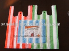 HDPE color stripped t-shirt bag, packaging bag