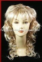 party and halloween crazy nice white color long kinky curly u part wig