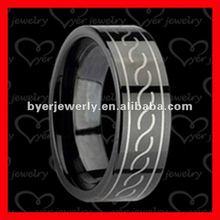2012 black stainless steel ring, laser pattern