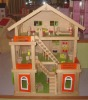 three floor classical wooden toys dolls house with mini furniture