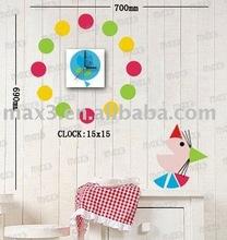 15A030 Funny Waterproof Vinyl Kids Wall Art DIY Poster Clock