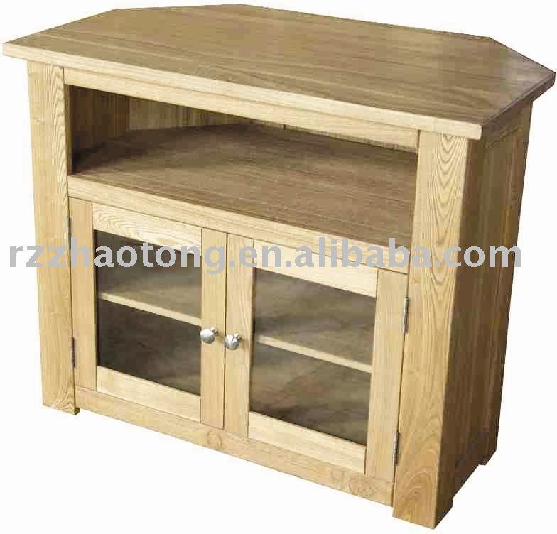 Roble de la esquina soporte de la tv muebles de madera for Meuble en coin tv