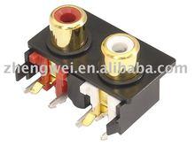 Gold plated RCA jack 2 holes AV connector