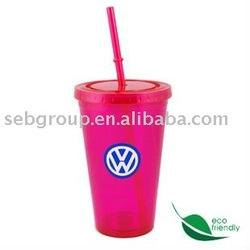 juice straw mug(Eco friendly,450ml,double wall)