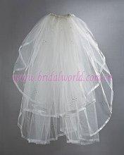 Full wedding veil,sheer ribbon edge and diamonds decorated