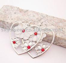 fashoin big heart colorful flower earrings(SWTER268)