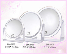 Clear plastic table top mirror
