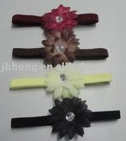 1CM nylon headbands with gem center daisy flower,hair bands,soft material headbands