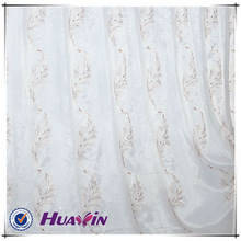 vertical feather design special bottom embroidery sheer lace curtain fabric
