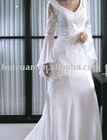 long sleeve bridal wedding dresses with small train