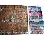 Square silk chiffon printed scarf