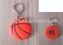 2011 basketball key chain with bottle opener can inside, key ring with corkscrew backside , 2011 new bottle opener