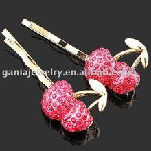 Cute Red Rhinestone Crystal Fruit Cherry Hair Pins