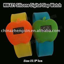 Fashion apple shape silicone digital slap watch