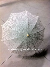 100% cotton embroidery lace wedding parasol