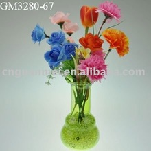 colorful glass flower vase