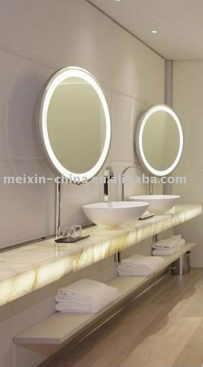 large lighted makeup mirror. LED lighted makeup mirror large circular mirror of the bathroom mirror(China