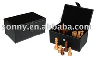 Black Leather Chess storage for travel