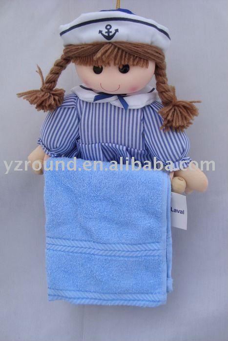toalla de baño de rack con niña de la muñeca de la marina-Animales ...
