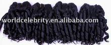 "12"" jet black candy curl cheap hair weave wholesale"