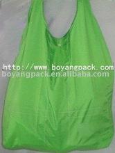 green foldable polyester shopping bag