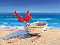 boat on the beach oil painting