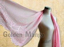 Plain color Embroidery Silk Shawl