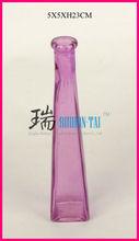 Purple triangle glass vase