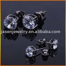 Solitaire CZ Stud Earrings,JEX001-BK