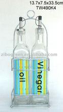TW490K4 glass cruet jar set for oil & vinegar w/ rack