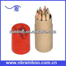 New fashion color pencil set in recycled paper tube with sharpener for promotion