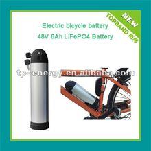 48v 6Ah lifepo4 E- bike battery with alumium bullet case