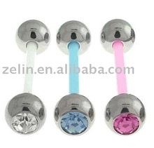 Flexible SSS Gem Sports Tongue Rings body piercing jewelry