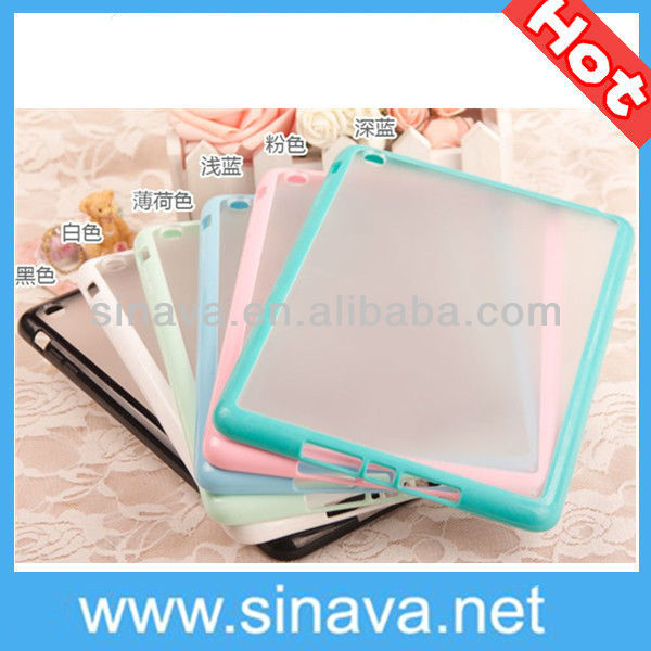 Popular Candy Color Clear Hard TPU Bumper Cover Case for Apple iPad Mini