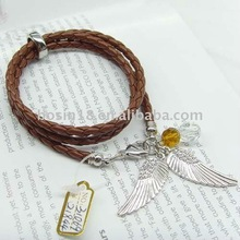 2012 fashion leather cord bangle with charm
