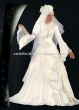muslin wedding dress with sleeves , long sleeves long wedding gown, bridal dress with sleeves 2401