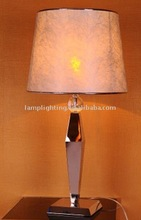 High level stainless steel body with special pattern shade table lamp