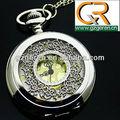 408o Hot prata hellow esqueleto big ouro dial relógio de bolso