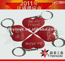 heart shape promotional keyring rubber