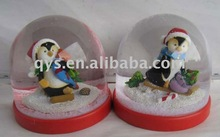 Snowman snow globe with red base