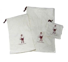 Cute White Cotton Drawstring Bag MP3 Mobile Bag