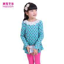 Kids Clothes Girls Polka Dot Long Sleeved Top In Cotton Jersey With A Print Autumn Cotton Charm Clothing